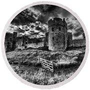 Carew Castle Pembrokeshire 4 Mono Round Beach Towel
