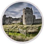 Carew Castle Pembrokeshire Long Exposure 2 Round Beach Towel