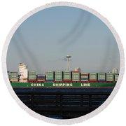 Cargo Ship In Seattle Round Beach Towel