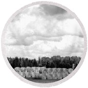 Cariboo Country Hay Bales Round Beach Towel