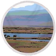 Caribou On The Move Round Beach Towel