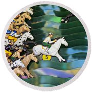 Carnival Horse Race Game Round Beach Towel