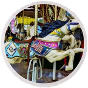 Carousel - Horse - Jumping Round Beach Towel by Paul Ward