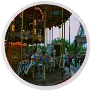 Carousel And Eiffel Tower Round Beach Towel