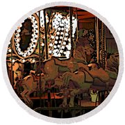 Carousel At Night Round Beach Towel