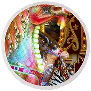 Carousel Dragon Round Beach Towel