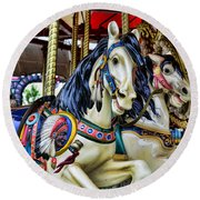 Carousel Horse 2 Round Beach Towel