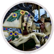 Carousel Horse 5 Round Beach Towel by Paul Ward