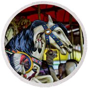 Carousel Horse 6 Round Beach Towel by Paul Ward