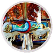Carousel Horse With Fish Round Beach Towel