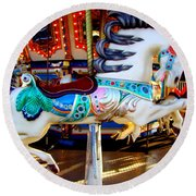 Carousel Horse With Leaves Round Beach Towel