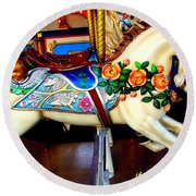 Carousel Horse With Roses Round Beach Towel