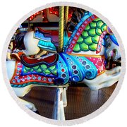 Carousel Horse With Sea Motif Round Beach Towel