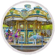 Carousel Ride In Pittsburgh Pennsylvania Round Beach Towel