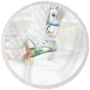 Carousel White Horse In A Child's World Round Beach Towel