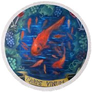 Carpe Vinum Round Beach Towel