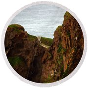 Carrick-a-rede Bridge II Round Beach Towel