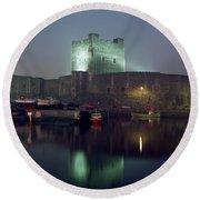 Carrickfergus Castle & Harbour, Co Round Beach Towel