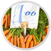 Carrots Round Beach Towel by Tom Gowanlock