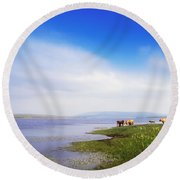 Carrowmore Lake, Co Mayo, Ireland Round Beach Towel
