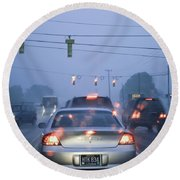 Cars And Traffic Lights In A Rain Storm Round Beach Towel