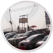 Cars In A Parking Lot At Surajkund Round Beach Towel