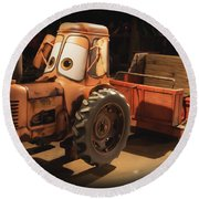 Cars Land Cow Tractor Round Beach Towel