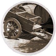 Cart And Wine Barrels In Italy Round Beach Towel
