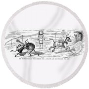 Cartoon: Telephone, 1886 Round Beach Towel