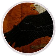 Carved Eagle Round Beach Towel