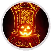 Carved Smiling Pumpkin On Chair Round Beach Towel