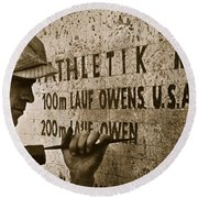 Carving The Name Of Jesse Owens Into The Champions Plinth At The 1936 Summer Olympics In Berlin Round Beach Towel by American School