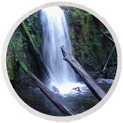 Rainforest Waterfall Cascades Round Beach Towel