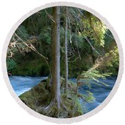 Cascade Rapids Round Beach Towel