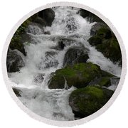 Cascades Below Round Beach Towel