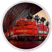 Casino Fremont Street Las Vegas Round Beach Towel by Susanne Van Hulst