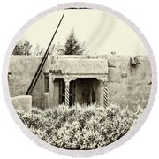 Casita In Taos Nm Old Print Round Beach Towel