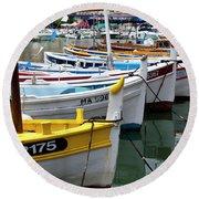 Cassis Boats Round Beach Towel by Brian Jannsen