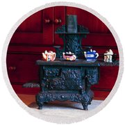 Cast Iron Stove With Teapots Round Beach Towel