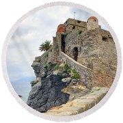 Castello Della Dragonara In Camogli Round Beach Towel by Joana Kruse