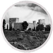 Castle And Clouds Round Beach Towel