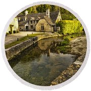 Castle Combe Bridgeside Round Beach Towel