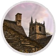 Castle Combe Medieval Church Round Beach Towel