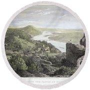 Castle Donaustauf, 1823 Round Beach Towel