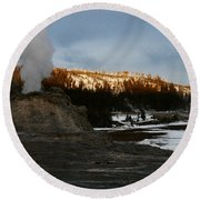 Castle Geyser Yellowstone National Park Round Beach Towel