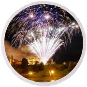 Castle Illuminations Round Beach Towel