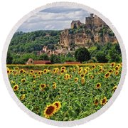 Castle In Dordogne Region France Round Beach Towel