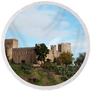 Castle In Sunlight Round Beach Towel