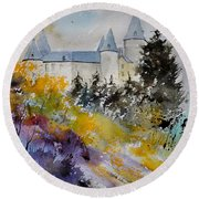 Castle Of Veves Belgium Round Beach Towel