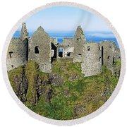 Castle On A Cliff, Dunluce Castle Round Beach Towel